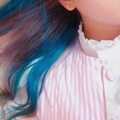 ガーリー インナーカラー ロング ダブルカラー ヘアスタイルや髪型の写真・画像