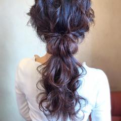 エレガント ロング ローポニー 簡単ヘアアレンジ ヘアスタイルや髪型の写真・画像