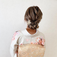 ミディアム 訪問着 振袖ヘア エレガント ヘアスタイルや髪型の写真・画像