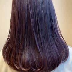 ラベンダーピンク ラベージュ セミロング ナチュラル ヘアスタイルや髪型の写真・画像
