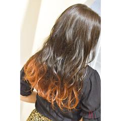 ロング 裾カラーオレンジ モード オレンジカラー ヘアスタイルや髪型の写真・画像