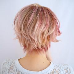 グラデーションカラー ショート ピンク ハイライト ヘアスタイルや髪型の写真・画像