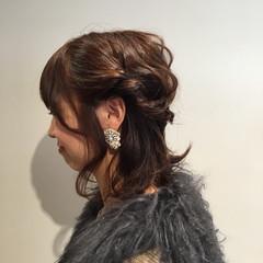 ハーフアップ ボブ 大人女子 冬 ヘアスタイルや髪型の写真・画像