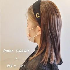 ミディアムヘアー ブリーチ必須 大人ミディアム インナーカラー ヘアスタイルや髪型の写真・画像