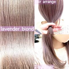 ミディアム ラベンダーアッシュ ガーリー ラベンダーピンク ヘアスタイルや髪型の写真・画像