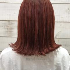 ナチュラル ミディアム 切りっぱなしボブ オレンジカラー ヘアスタイルや髪型の写真・画像