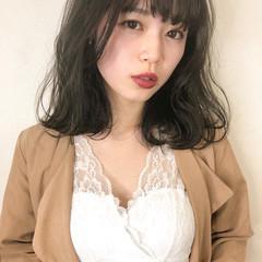 アンニュイほつれヘア ミディアム 黒髪 地毛風カラー ヘアスタイルや髪型の写真・画像