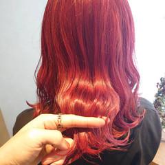 レッドブラウン ラベンダーピンク ローズ チェリーレッド ヘアスタイルや髪型の写真・画像