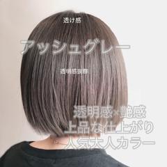 アッシュグレー グレーアッシュ ミニボブ ボブ ヘアスタイルや髪型の写真・画像