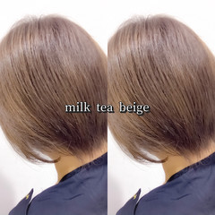 ストリート ミルクティー ショート ミルクティーベージュ ヘアスタイルや髪型の写真・画像