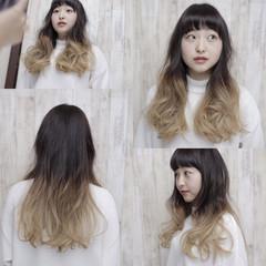 グラデーションカラー ガーリー ロング 暗髪 ヘアスタイルや髪型の写真・画像