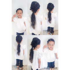 ガーリー 簡単ヘアアレンジ ヘアアレンジ 子供 ヘアスタイルや髪型の写真・画像