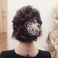 波ウェーブ 結婚式 パーティ 大人かわいい ヘアスタイルや髪型の写真・画像