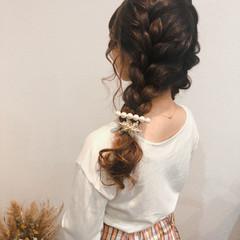 編み込み ヘアアレンジ 編み込みヘア フェミニン ヘアスタイルや髪型の写真・画像