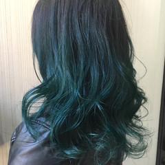 暗髪 ブルージュ ハイライト ミディアム ヘアスタイルや髪型の写真・画像