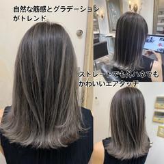 コントラストハイライト ミディアム トレンド バレイヤージュ ヘアスタイルや髪型の写真・画像