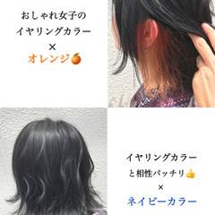 切りっぱなしボブ イヤリングカラー ガーリー ショートボブ ヘアスタイルや髪型の写真・画像
