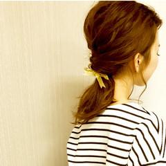 ナチュラル セミロング グレージュ ヘアアレンジ ヘアスタイルや髪型の写真・画像