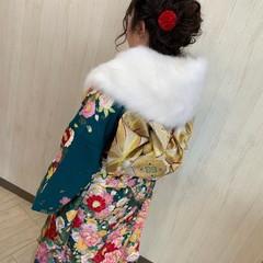 セミロング ガーリー 秋冬スタイル 成人式ヘアメイク着付け ヘアスタイルや髪型の写真・画像
