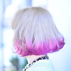 ストリート ブリーチ ハイトーン ボブ ヘアスタイルや髪型の写真・画像