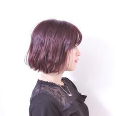 ボブ ガーリー 無造作 バイオレットアッシュ ヘアスタイルや髪型の写真・画像