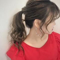 セミロング オフィス ヘアアレンジ アウトドア ヘアスタイルや髪型の写真・画像