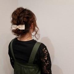 フェミニン アップスタイル ヘアアレンジ ボブ ヘアスタイルや髪型の写真・画像