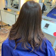 秋 グラデーションカラー ピンクラベンダー フェミニン ヘアスタイルや髪型の写真・画像
