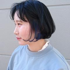 ストリート ボブ ブルー ネイビー ヘアスタイルや髪型の写真・画像