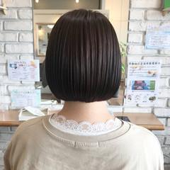 ナチュラル 切りっぱなしボブ ミニボブ 透明感カラー ヘアスタイルや髪型の写真・画像