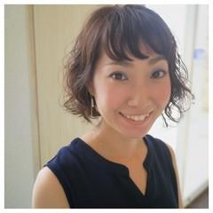 パーマ 暗髪 ふわふわ ヘアアレンジ ヘアスタイルや髪型の写真・画像