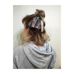 簡単ヘアアレンジ ハーフアップ ショート 編み込み ヘアスタイルや髪型の写真・画像