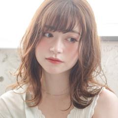 アンニュイほつれヘア デジタルパーマ 韓国風ヘアー セミロング ヘアスタイルや髪型の写真・画像