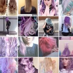 カラフルカラー ヘアスタイルや髪型の写真・画像