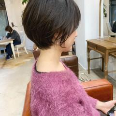 ショートヘア 暗髪 ゆるふわ アンニュイほつれヘア ヘアスタイルや髪型の写真・画像