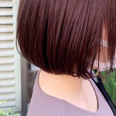 ミニボブ レッドブラウン ショートボブ ピンクブラウン ヘアスタイルや髪型の写真・画像