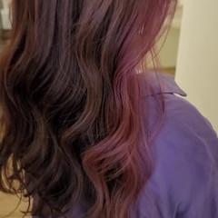 ハイライト デザインカラー ピンク モード ヘアスタイルや髪型の写真・画像