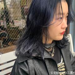 ネイビージュ セミロング 切りっぱなしボブ ネイビーカラー ヘアスタイルや髪型の写真・画像