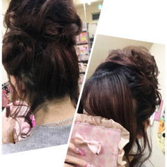 セミロング デート お団子 ガーリー ヘアスタイルや髪型の写真・画像