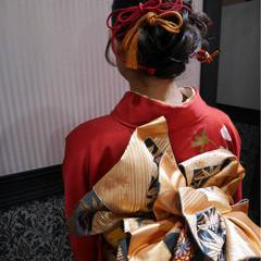 レトロ 成人式 ミディアム アップスタイル ヘアスタイルや髪型の写真・画像
