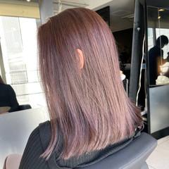 透明感カラー 春ヘア ピンクベージュ ミディアム ヘアスタイルや髪型の写真・画像