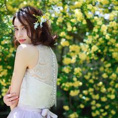 ボブ 生花アレンジ 撮影 花嫁 ヘアスタイルや髪型の写真・画像