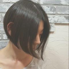ボブ ショート レザーカット 黒髪 ヘアスタイルや髪型の写真・画像