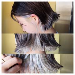 ブルーアッシュ ハイトーン ストリート ウェットヘア ヘアスタイルや髪型の写真・画像