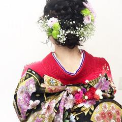 セミロング ナチュラル 成人式 アップスタイル ヘアスタイルや髪型の写真・画像