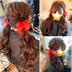 ツインテール リボン ロング 巻き髪 ヘアスタイルや髪型の写真・画像