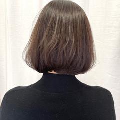 アッシュブラウン シンプルボブ ボブ 大人可愛い ヘアスタイルや髪型の写真・画像