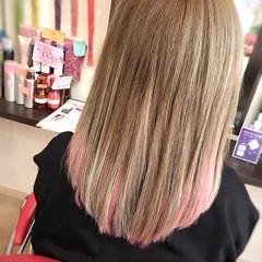 ハイトーン ボブ ガーリー ピンク ヘアスタイルや髪型の写真・画像