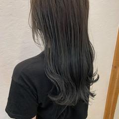 グラデーションカラー モード ネイビーブルー ロング ヘアスタイルや髪型の写真・画像