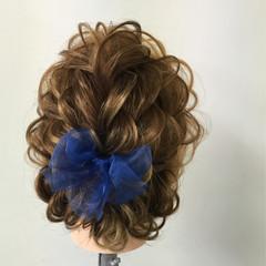 編み込み ヘアアレンジ セミロング 結婚式 ヘアスタイルや髪型の写真・画像